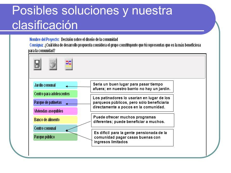 Posibles soluciones y nuestra clasificación Puede ofrecer muchos programas diferentes; puede beneficiar a muchos.