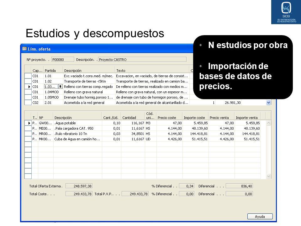 05 May 2014 Estudios y descompuestos N estudios por obra Importación de bases de datos de precios.