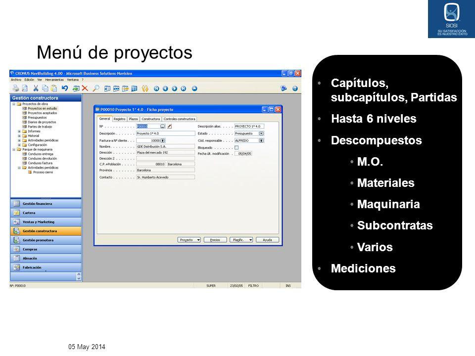05 May 2014 Menú de proyectos Capítulos, subcapítulos, Partidas Hasta 6 niveles Descompuestos M.O. Materiales Maquinaria Subcontratas Varios Medicione