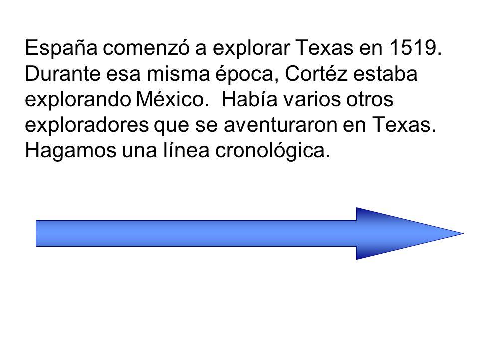 Pineda 1519 Cabeza de Vaca De Soto y Moscoso Coronado 1684 La Salle Clave: Exploradores españoles Exploradores franceses Línea cronológica de los exploradores de Texas