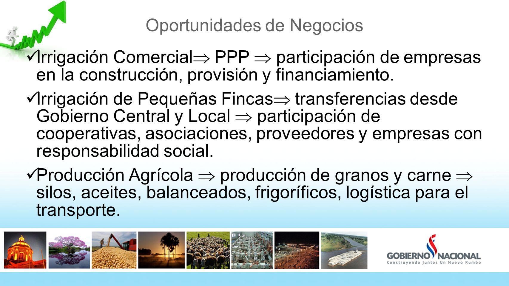 Oportunidades de Negocios Irrigación Comercial PPP participación de empresas en la construcción, provisión y financiamiento. Irrigación de Pequeñas Fi