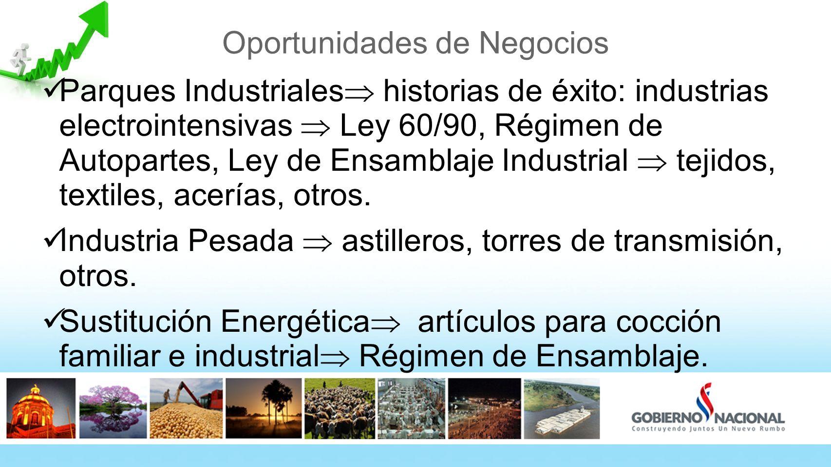 Oportunidades de Negocios Parques Industriales historias de éxito: industrias electrointensivas Ley 60/90, Régimen de Autopartes, Ley de Ensamblaje Industrial tejidos, textiles, acerías, otros.