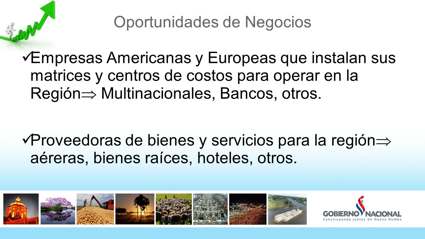Oportunidades de Negocios Empresas Americanas y Europeas que instalan sus matrices y centros de costos para operar en la Región Multinacionales, Bancos, otros.