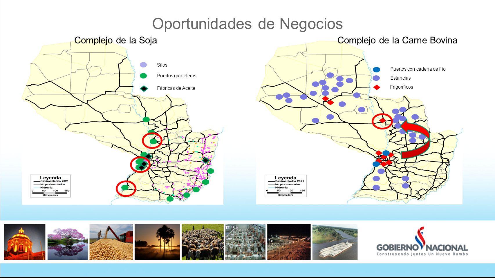 Oportunidades de Negocios Puertos graneleros Silos Fábricas de Aceite Estancias Frigoríficos Puertos con cadena de frío Complejo de la Carne BovinaComplejo de la Soja