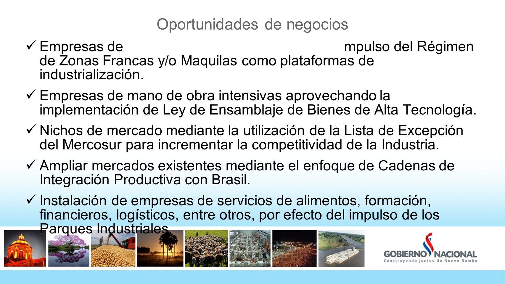 Oportunidades de negocios Empresas de capital intensivo aprovechando el impulso del Régimen de Zonas Francas y/o Maquilas como plataformas de industrialización.