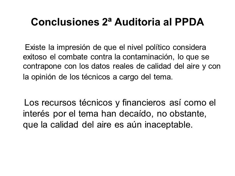 Conclusiones 2ª Auditoria al PPDA Existe la impresión de que el nivel político considera exitoso el combate contra la contaminación, lo que se contrapone con los datos reales de calidad del aire y con la opinión de los técnicos a cargo del tema.