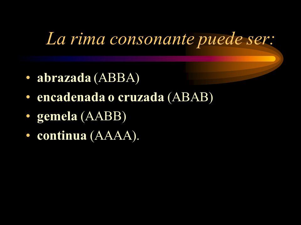 La rima consonante puede ser: abrazada (ABBA) encadenada o cruzada (ABAB) gemela (AABB) continua (AAAA).