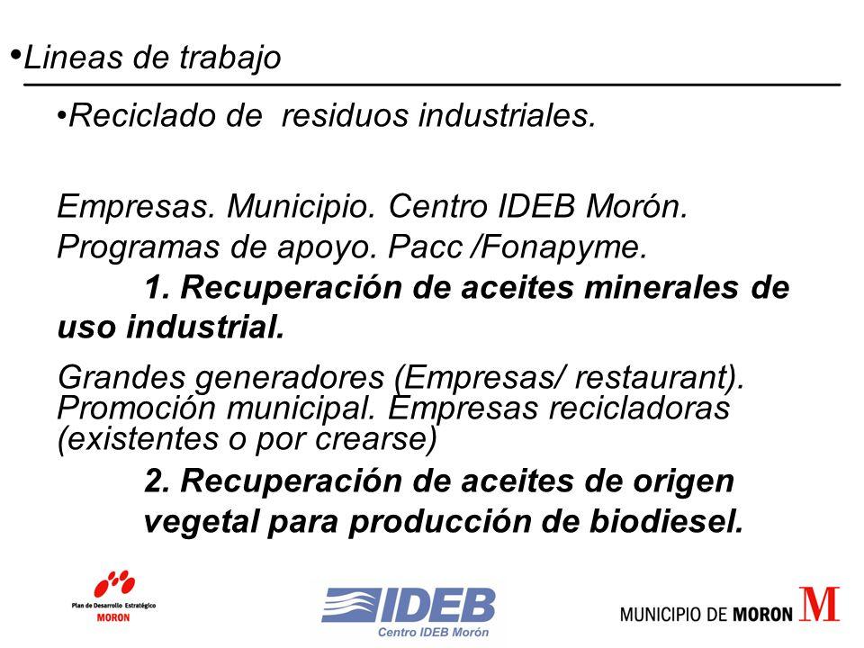 Reciclado de residuos industriales. Empresas. Municipio.