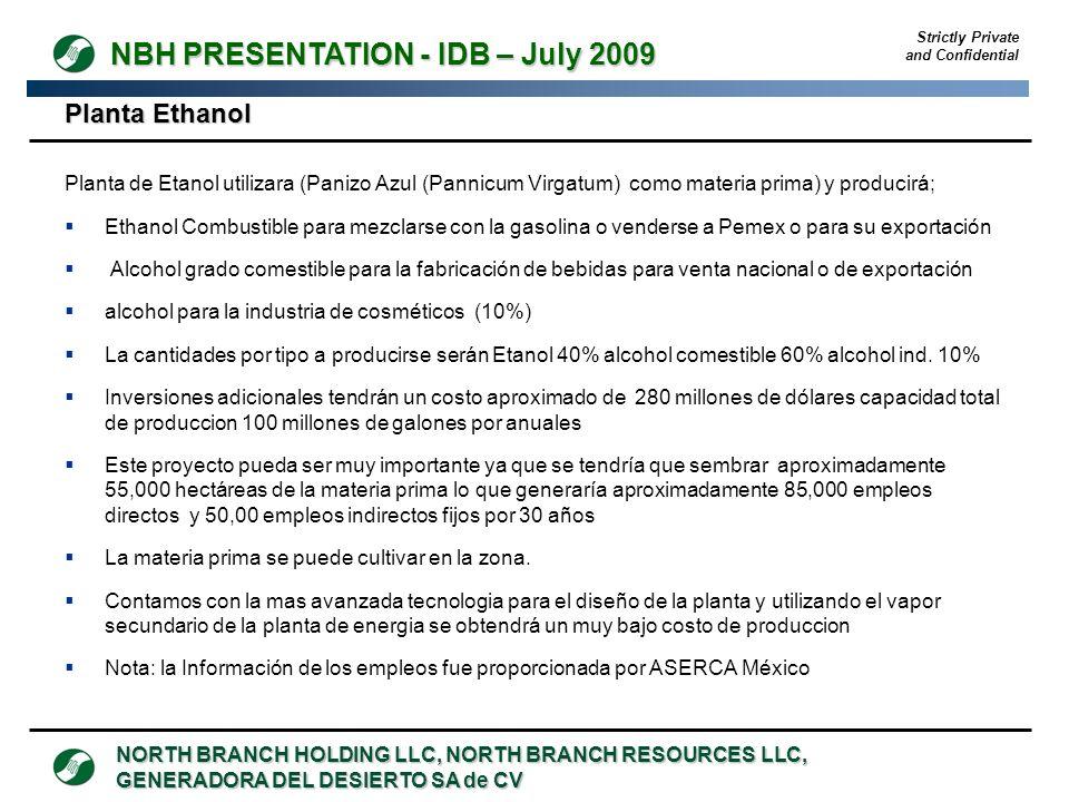 Strictly Private and Confidential NORTH BRANCH HOLDING LLC, NORTH BRANCH RESOURCES LLC, GENERADORA DEL DESIERTO SA de CV NBH PRESENTATION - IDB – July