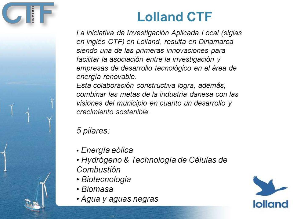 Lolland CTF La iniciativa de Investigación Aplicada Local (siglas en inglés CTF) en Lolland, resulta en Dinamarca siendo una de las primeras innovaciones para facilitar la asociación entre la investigación y empresas de desarrollo tecnológico en el área de energía renovable.