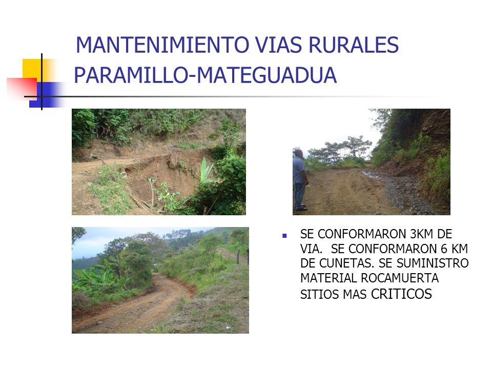 MANTENIMIENTO VIAS RURALES PARAMILLO-MATEGUADUA SE CONFORMARON 3KM DE VIA. SE CONFORMARON 6 KM DE CUNETAS. SE SUMINISTRO MATERIAL ROCAMUERTA SITIOS MA