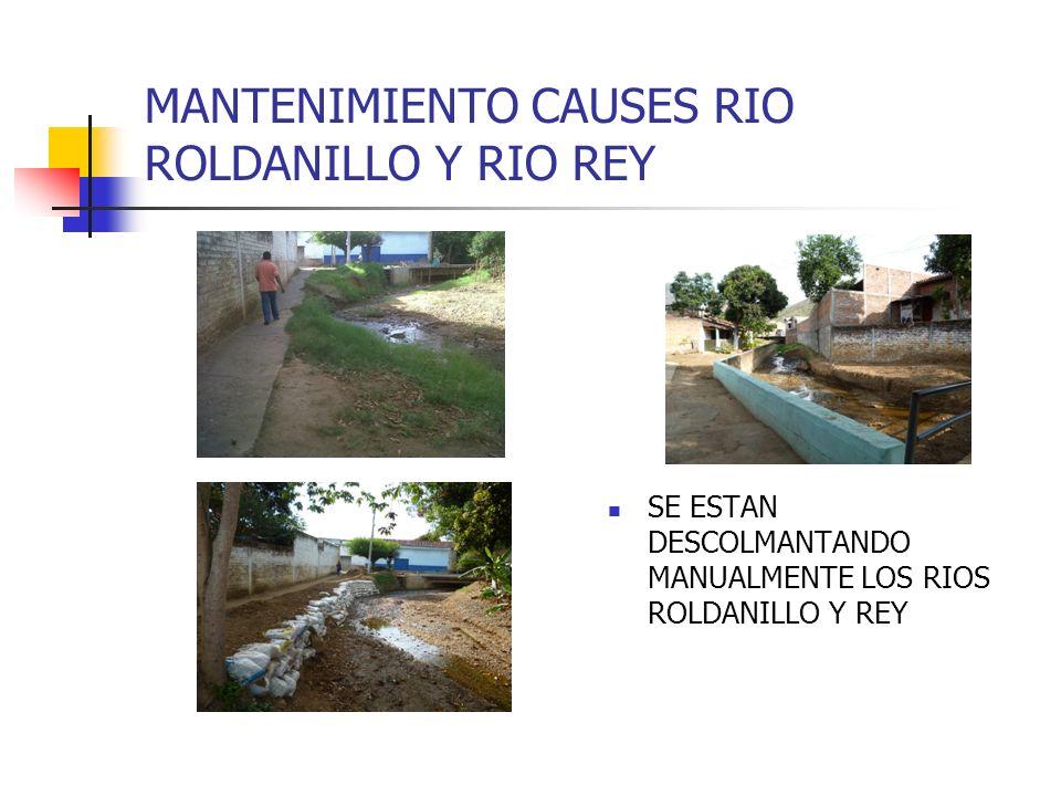 MANTENIMIENTO CAUSES RIO ROLDANILLO Y RIO REY SE ESTAN DESCOLMANTANDO MANUALMENTE LOS RIOS ROLDANILLO Y REY