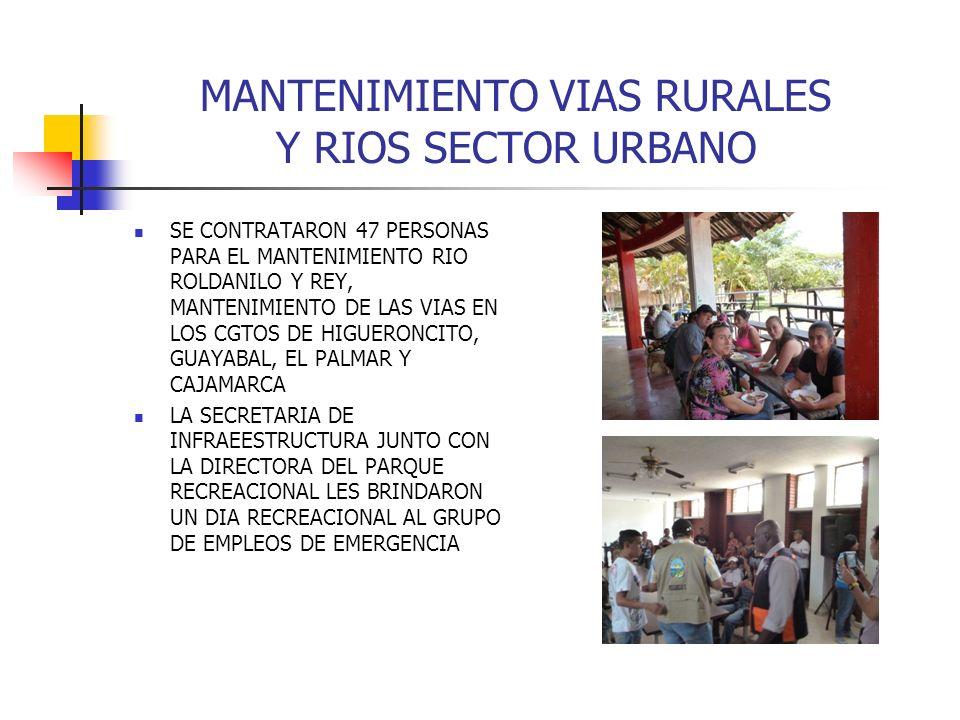MANTENIMIENTO VIAS RURALES Y RIOS SECTOR URBANO SE CONTRATARON 47 PERSONAS PARA EL MANTENIMIENTO RIO ROLDANILO Y REY, MANTENIMIENTO DE LAS VIAS EN LOS