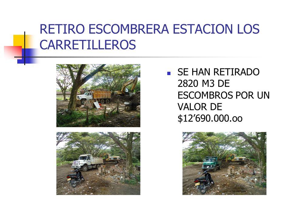 RETIRO ESCOMBRERA ESTACION LOS CARRETILLEROS SE HAN RETIRADO 2820 M3 DE ESCOMBROS POR UN VALOR DE $12690.000.oo
