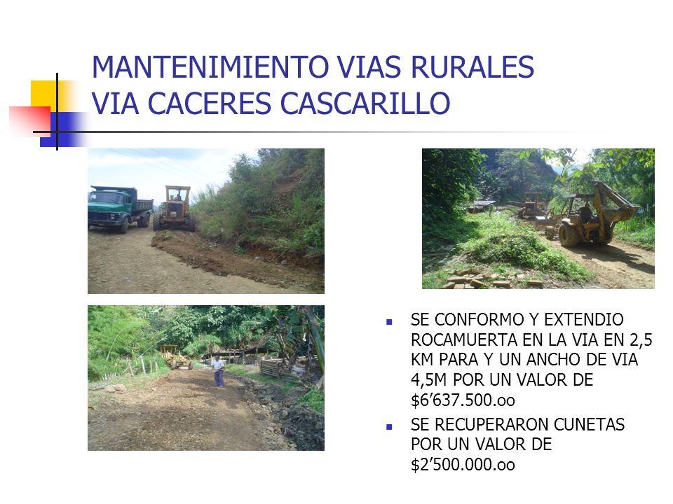 MANTENIMIENTO VIAS RURALES VIA CACERES CASCARILLO SE CONFORMO Y EXTENDIO ROCAMUERTA EN LA VIA EN 2,5 KM PARA Y UN ANCHO DE VIA 4,5M POR UN VALOR DE $6