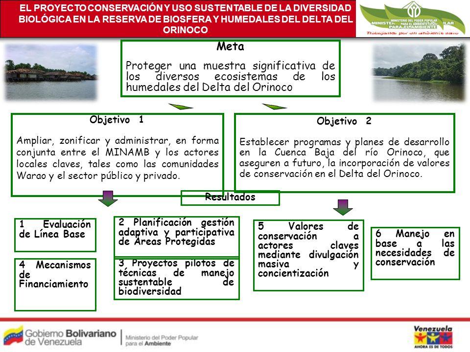 Meta Proteger una muestra significativa de los diversos ecosistemas de los humedales del Delta del Orinoco Objetivo 1 Ampliar, zonificar y administrar, en forma conjunta entre el MINAMB y los actores locales claves, tales como las comunidades Warao y el sector público y privado.