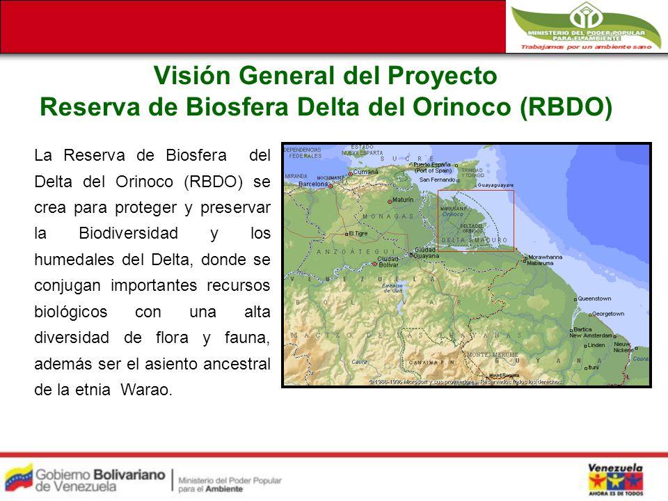 Visión General del Proyecto Reserva de Biosfera Delta del Orinoco (RBDO) La Reserva de Biosfera del Delta del Orinoco (RBDO) se crea para proteger y preservar la Biodiversidad y los humedales del Delta, donde se conjugan importantes recursos biológicos con una alta diversidad de flora y fauna, además ser el asiento ancestral de la etnia Warao.