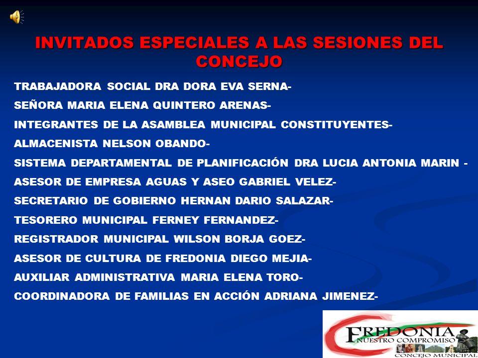 INVITADOS ESPECIALES A LAS SESIONES DEL CONCEJO ALCALDE MUNICIPAL CARLOS MARIO LONDOÑO ESPINOSA COMANDANTE DE DISTRITO DE LA POLICIA- COMANDANTE DE LA SIJIN- SUBSECRETARIO DE GOBIERNO DEPARTAMENTAL- COMANDANTE DE ESTACIÓN POLICIA FREDONIA- PROCURADOR PROVINCIAL DR.