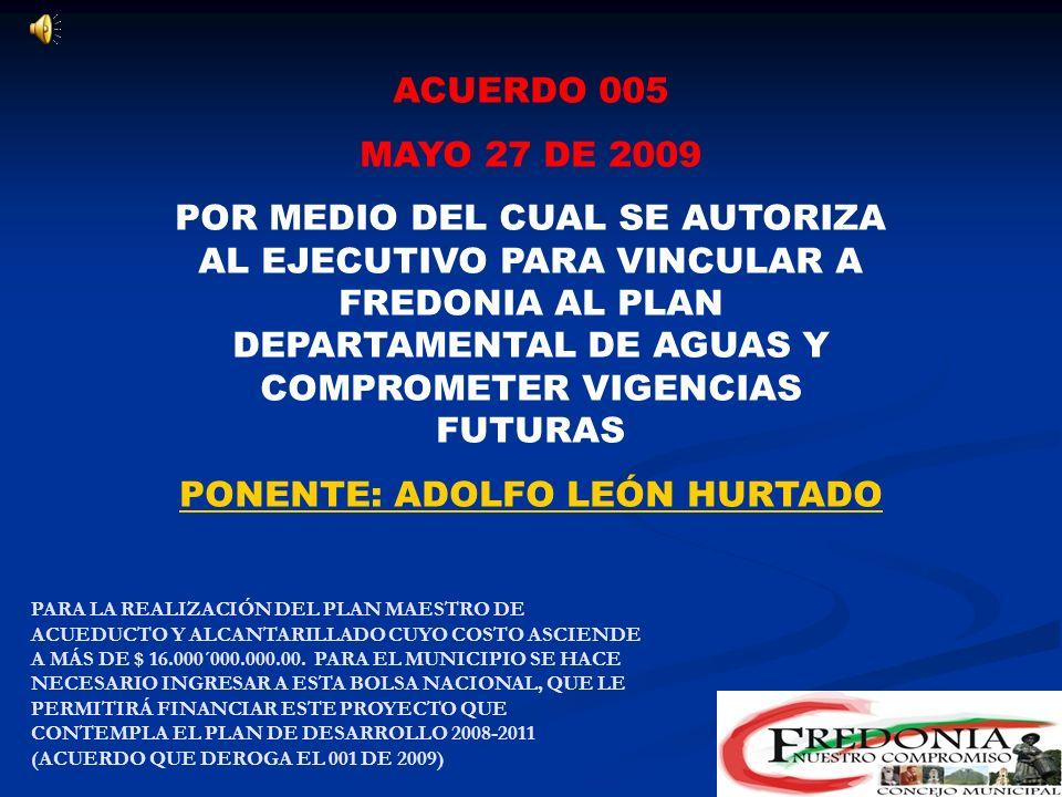 ACUERDO 004 MARZO 10 DE 2009 POR MEDIO DEL CUAL SE CONCEDEN UNAS FACULTADES PROTEMPORE AL ALCALDE PARA MODIFICAR LA ESTRUCTURA ORGANICA Y LA PLANTA DE CARGOS DEL MUNICIPIO DE FREDONIA PONENTE: CARLOS AUGUSTO BEDOYA POR NORMA EL MUNICIPIO DEBE SEPARAR LA COMISARIA DE FAMILIA DE LA INSPECCIÓN DE POLICIA Y SERÁ ESTE UNO DE LOS CARGOS Y EL OTRO PARA EL CUAL SE FACULTA AL EJECUTIVO ES EL DE CONTROL INTERNO ANTE LA IMPLEMENTACIÓN DEL MECI EN FREDONIA