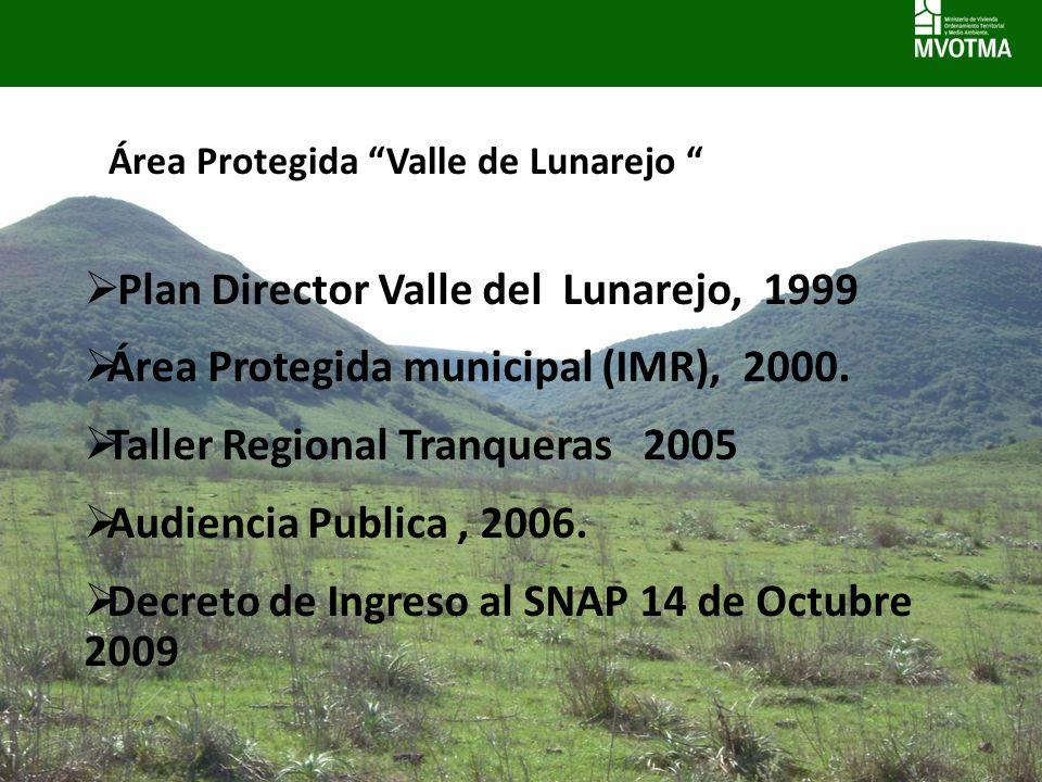 Área Protegida Valle de Lunarejo Plan Director Valle del Lunarejo, 1999 Área Protegida municipal (IMR), 2000. Taller Regional Tranqueras 2005 Audienci