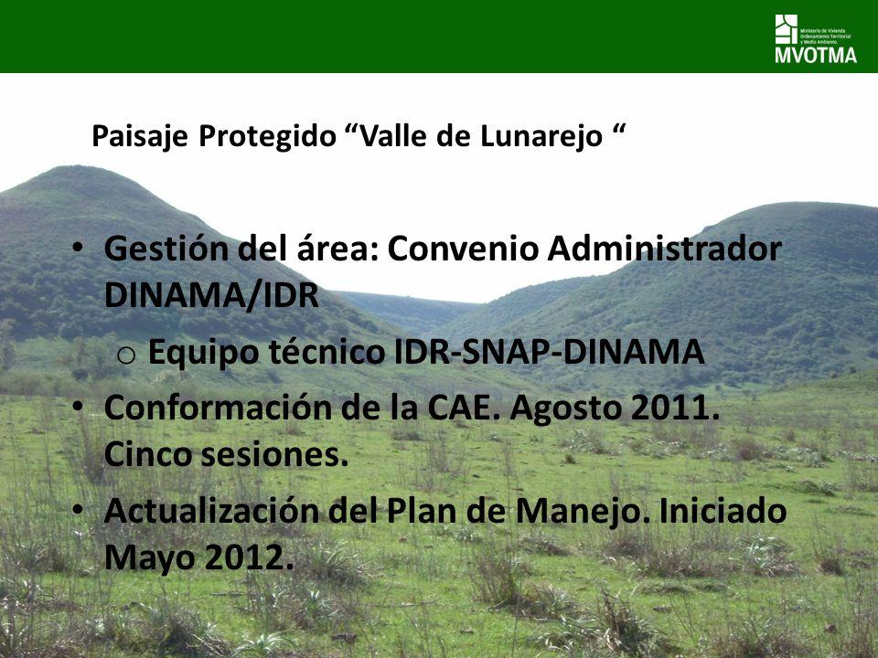 Paisaje Protegido Valle de Lunarejo Gestión del área: Convenio Administrador DINAMA/IDR o Equipo técnico IDR-SNAP-DINAMA Conformación de la CAE. Agost