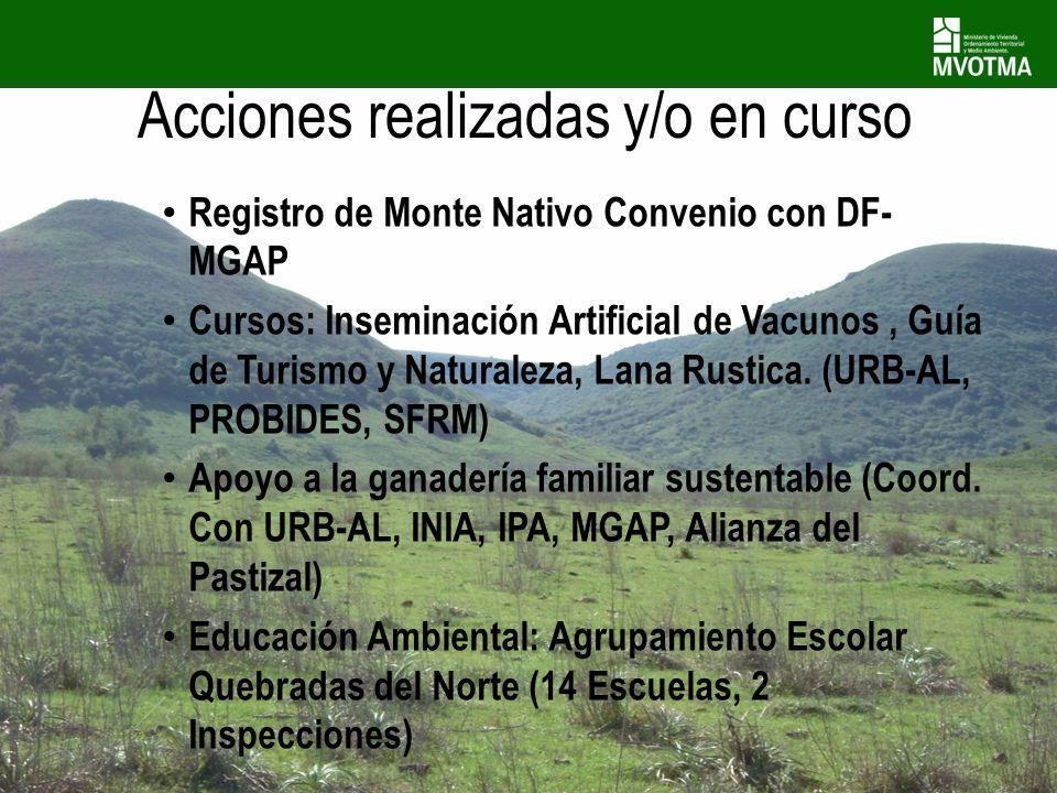 Registro de Monte Nativo Convenio con DF- MGAP Cursos: Inseminación Artificial de Vacunos, Guía de Turismo y Naturaleza, Lana Rustica. (URB-AL, PROBID