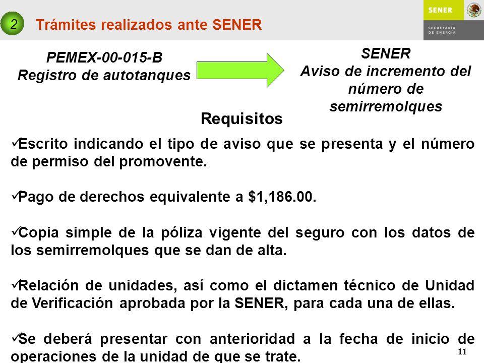 11 Trámites realizados ante SENER PEMEX-00-015-B Registro de autotanques 2 SENER Aviso de incremento del número de semirremolques Requisitos Escrito i