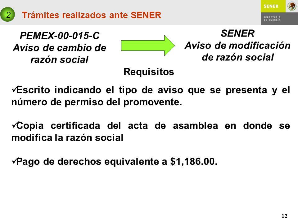12 Trámites realizados ante SENER PEMEX-00-015-C Aviso de cambio de razón social 2 SENER Aviso de modificación de razón social Requisitos Escrito indi