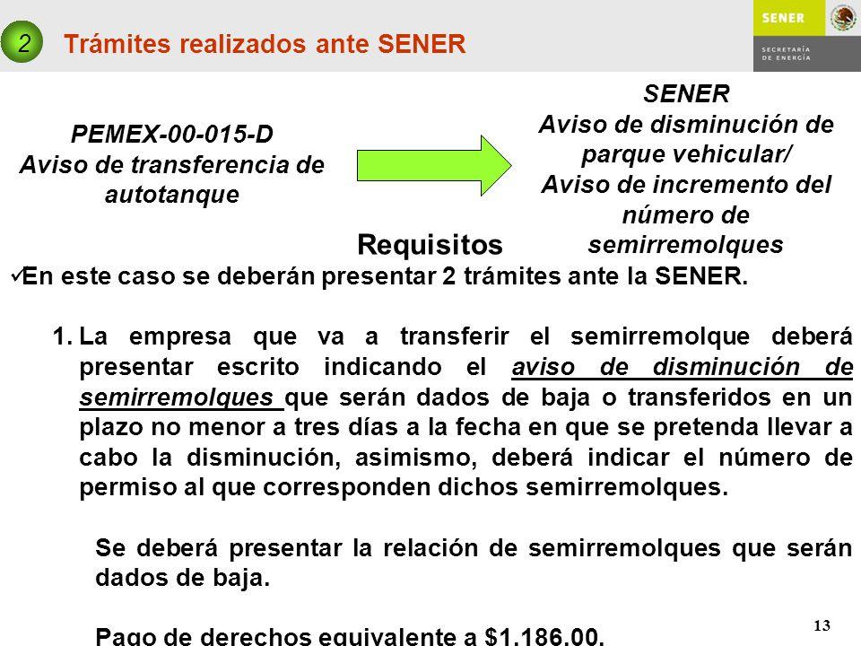 13 Trámites realizados ante SENER PEMEX-00-015-D Aviso de transferencia de autotanque 2 SENER Aviso de disminución de parque vehicular/ Aviso de incre