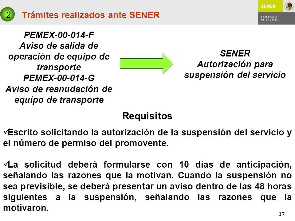 17 Trámites realizados ante SENER PEMEX-00-014-F Aviso de salida de operación de equipo de transporte PEMEX-00-014-G Aviso de reanudación de equipo de