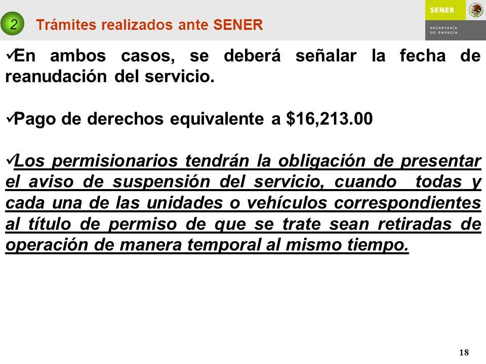 18 Trámites realizados ante SENER 2 En ambos casos, se deberá señalar la fecha de reanudación del servicio. Pago de derechos equivalente a $16,213.00