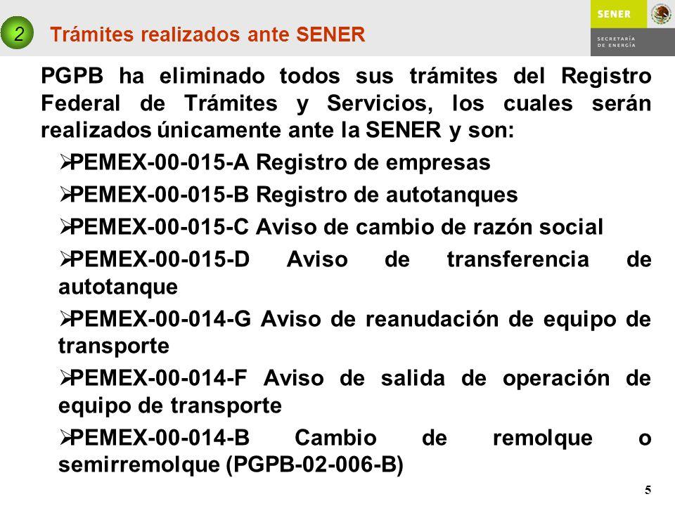5 Trámites realizados ante SENER PGPB ha eliminado todos sus trámites del Registro Federal de Trámites y Servicios, los cuales serán realizados únicam