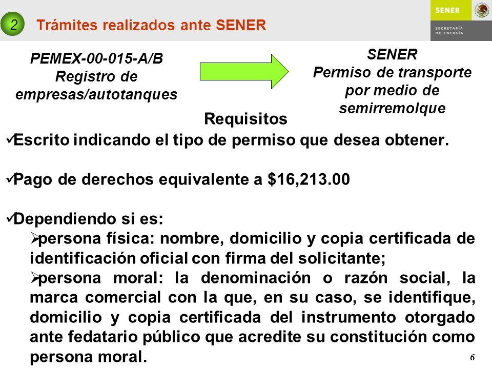 6 Trámites realizados ante SENER PEMEX-00-015-A/B Registro de empresas/autotanques 2 SENER Permiso de transporte por medio de semirremolque Requisitos