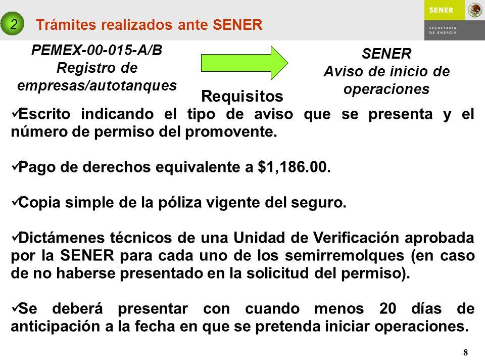 8 Trámites realizados ante SENER PEMEX-00-015-A/B Registro de empresas/autotanques 2 SENER Aviso de inicio de operaciones Requisitos Escrito indicando