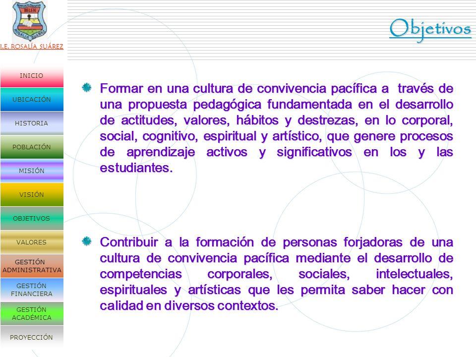 I.E. ROSALÍA SUÁREZ UBICACIÓN HISTORIA POBLACIÓN MISIÓN VISIÓN OBJETIVOS VALORES GESTIÓN ADMINISTRATIVA GESTIÓN FINANCIERA GESTIÓN ACADÉMICA PROYECCIÓ