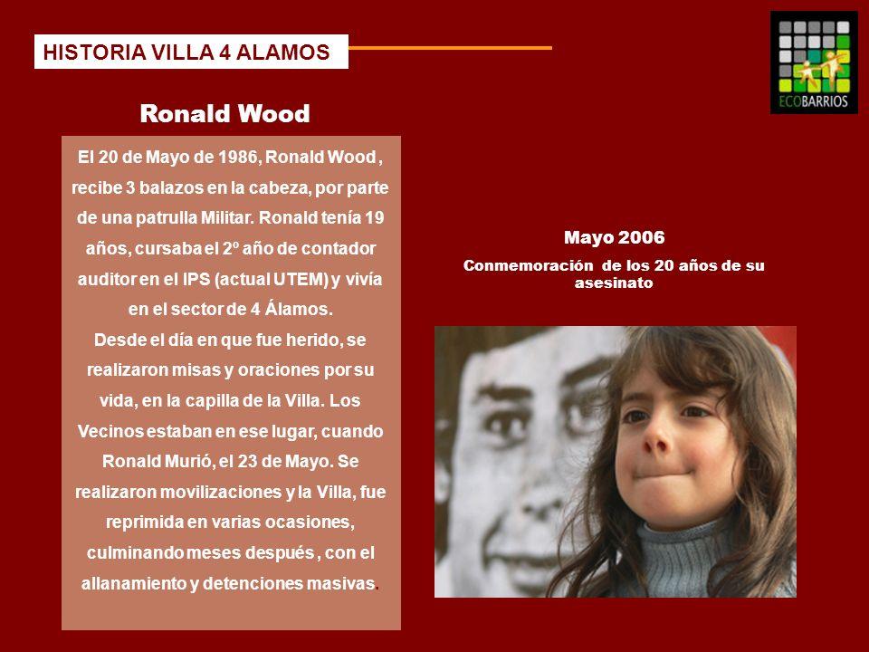 Ronald Wood El 20 de Mayo de 1986, Ronald Wood, recibe 3 balazos en la cabeza, por parte de una patrulla Militar. Ronald tenía 19 años, cursaba el 2º