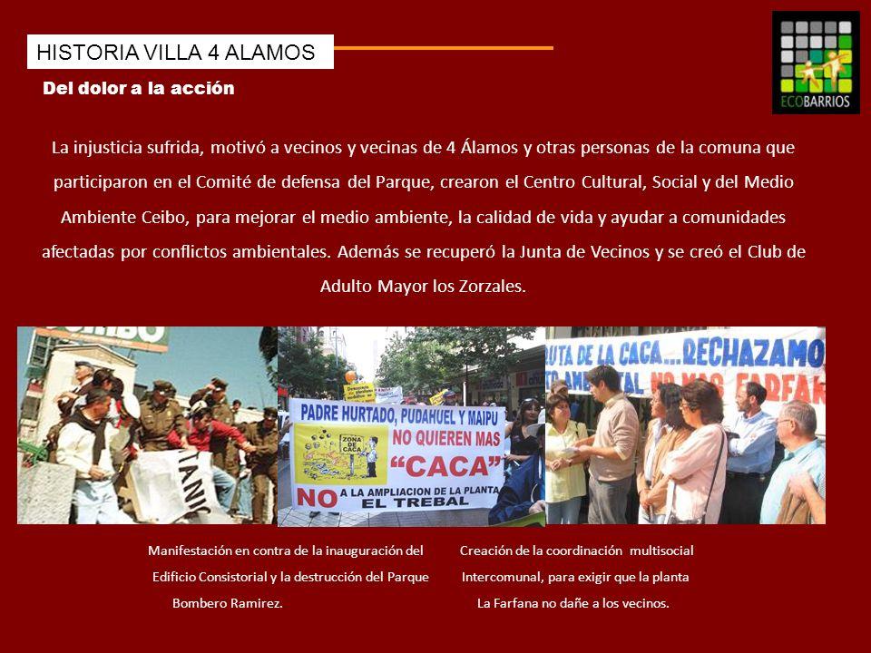 Del dolor a la acción HISTORIA VILLA 4 ALAMOS La injusticia sufrida, motivó a vecinos y vecinas de 4 Álamos y otras personas de la comuna que particip