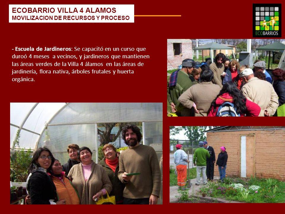 - Escuela de Jardineros: Se capacitó en un curso que duroó 4 meses a vecinos, y jardineros que mantienen las áreas verdes de la Villa 4 álamos en las