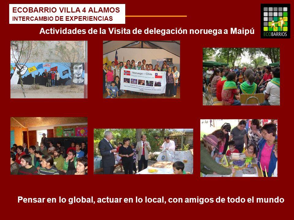 ECOBARRIO VILLA 4 ALAMOS INTERCAMBIO DE EXPERIENCIAS Actividades de la Visita de delegación noruega a Maipú Pensar en lo global, actuar en lo local, c