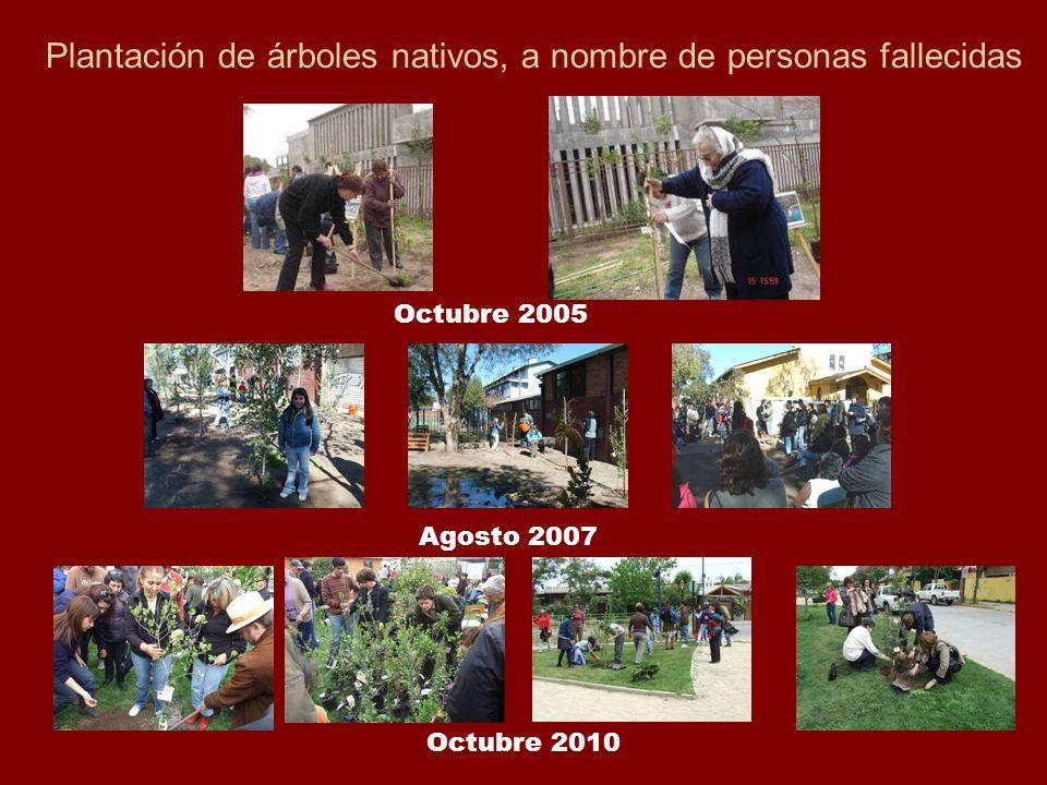 Plantación de árboles nativos, a nombre de personas fallecidas Octubre 2005 Agosto 2007 Octubre 2010