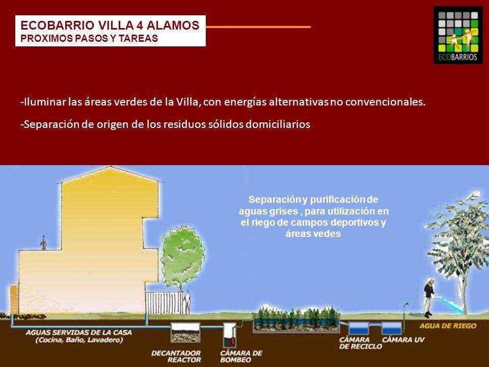 Separación y purificación de aguas grises, para utilización en el riego de campos deportivos y áreas vedes -Iluminar las áreas verdes de la Villa, con