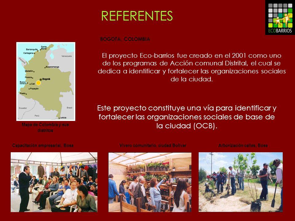BOGOTA, COLOMBIA Mapa de Colombia y sus distritos El proyecto Eco-barrios fue creado en el 2001 como uno de los programas de Acción comunal Distrital,