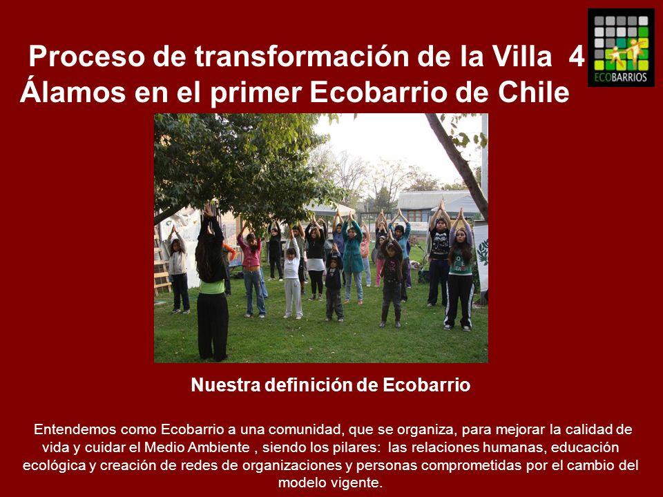 Proceso de transformación de la Villa 4 Álamos en el primer Ecobarrio de Chile Nuestra definición de Ecobarrio Entendemos como Ecobarrio a una comunid
