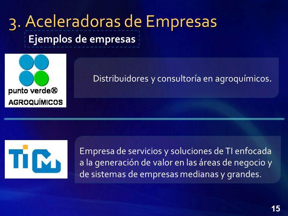 15 3.Aceleradoras de Empresas Ejemplos de empresas Distribuidores y consultoría en agroquímicos.