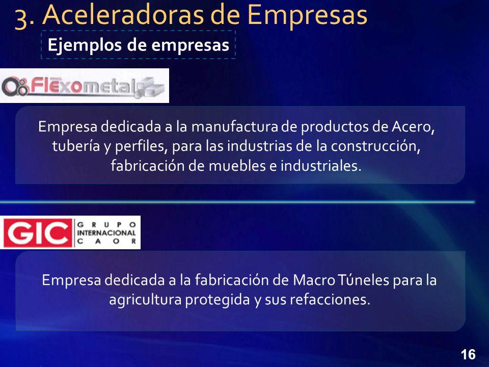 16 Empresa dedicada a la manufactura de productos de Acero, tubería y perfiles, para las industrias de la construcción, fabricación de muebles e industriales.