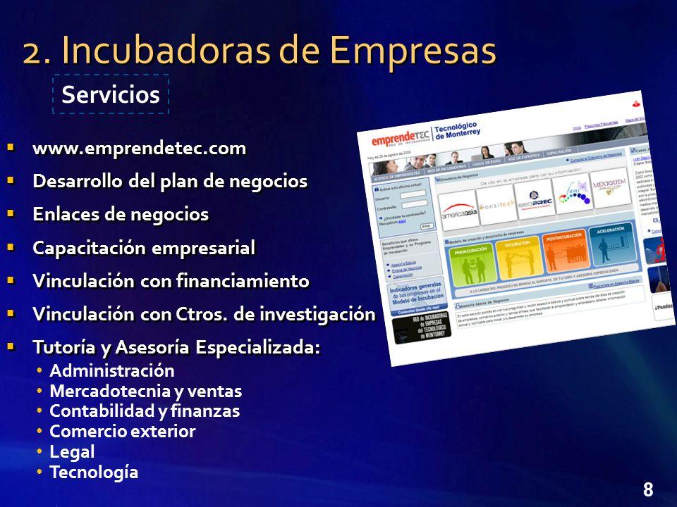 8 www.emprendetec.com Desarrollo del plan de negocios Enlaces de negocios Capacitación empresarial Vinculación con financiamiento Vinculación con Ctros.