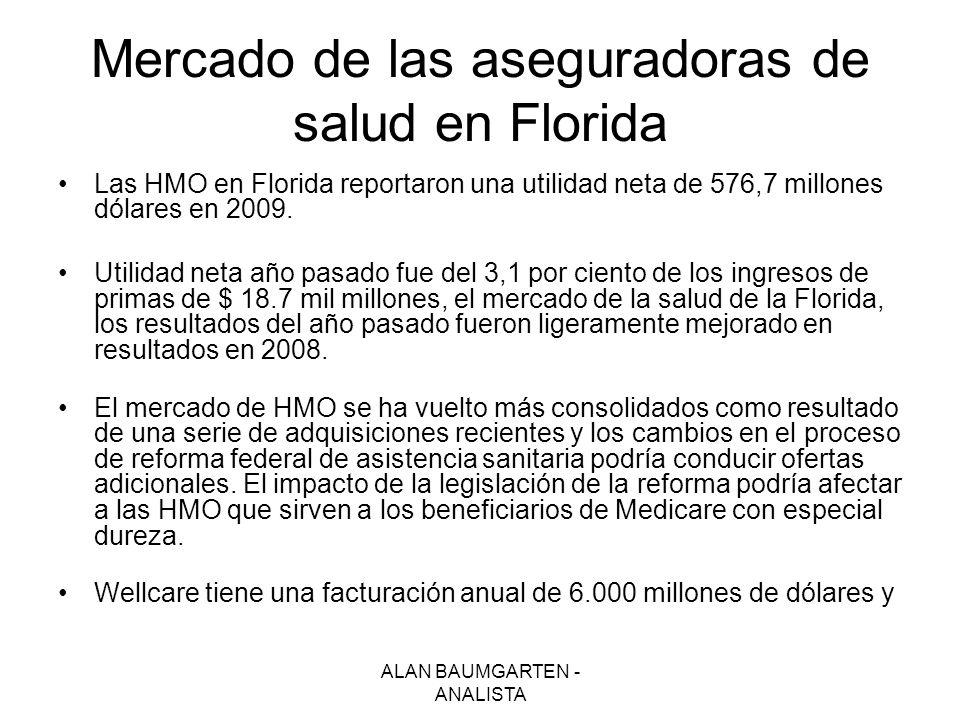 ALAN BAUMGARTEN - ANALISTA Mercado de las aseguradoras de salud en Florida Las HMO en Florida reportaron una utilidad neta de 576,7 millones dólares e