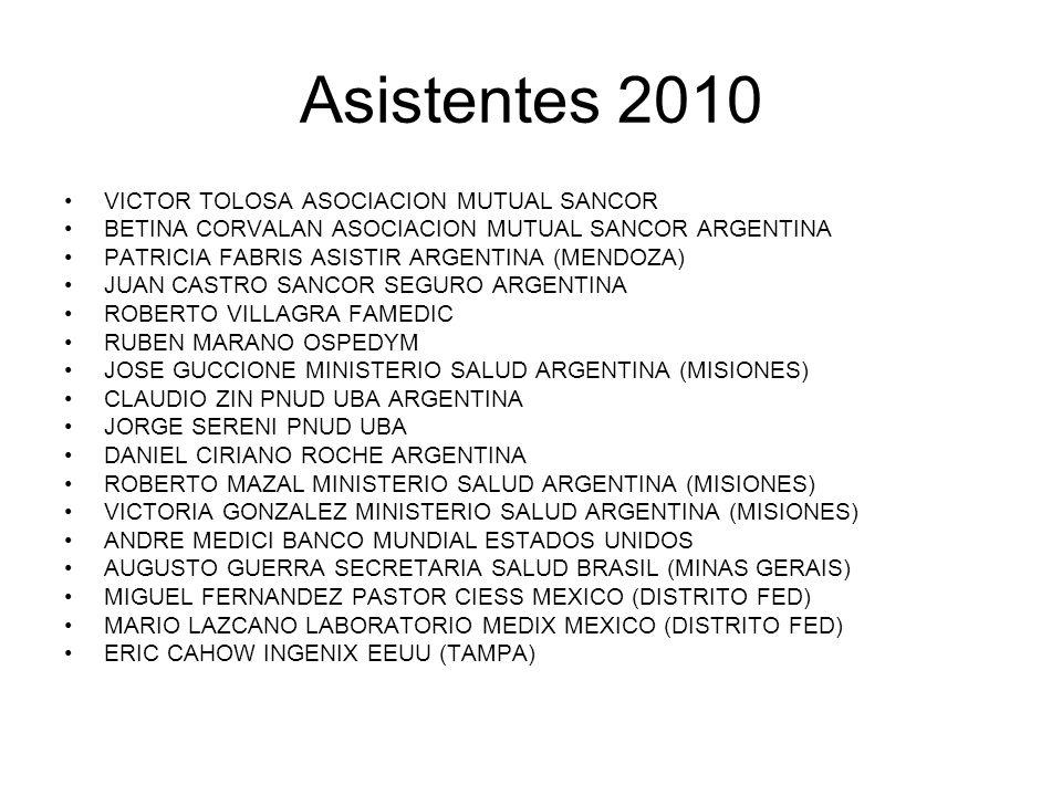 Asistentes 2010 VICTOR TOLOSA ASOCIACION MUTUAL SANCOR BETINA CORVALAN ASOCIACION MUTUAL SANCOR ARGENTINA PATRICIA FABRIS ASISTIR ARGENTINA (MENDOZA)