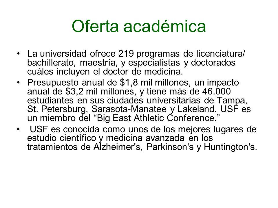 Oferta académica La universidad ofrece 219 programas de licenciatura/ bachillerato, maestría, y especialistas y doctorados cuáles incluyen el doctor d