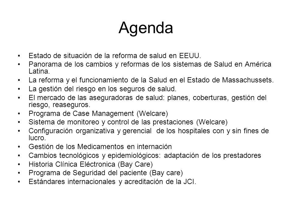 Agenda Estado de situación de la reforma de salud en EEUU. Panorama de los cambios y reformas de los sistemas de Salud en América Latina. La reforma y
